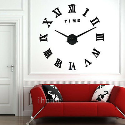 Large Frameless DIY 3D Roman Number Wall Clock Kit Retro Office Home Decoration