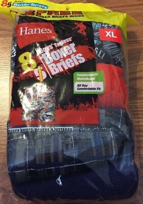 Hanes Cotton 8 Pack Boxer Briefs Boys Size Extra Large 18-20 NWT (np8)
