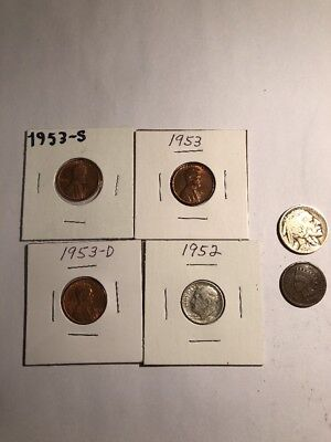 Coinlot Silver Dime Buffalo Indian Wheat Lot Exact Coins Pictured #8 1953PDS