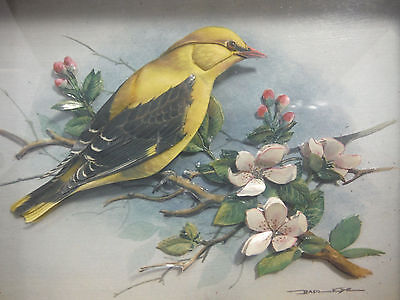 Vintage Basil Ede 3D Shadow Box Goldfinch & Apple blossoms Cut Paper Framed Art