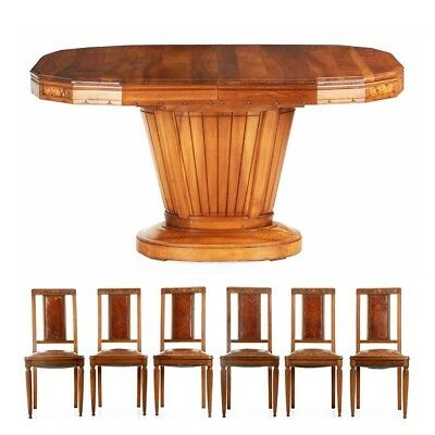 French Art Deco Antique Walnut Dining Table Six Carved Leather Side Chairs 1920