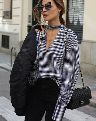 ac5209a7e47 ZARA Gingham Checked Long Sleeve Shirt with Collar Detail Size TOP blouse M  L