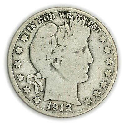 1913-S Barber Half Dollar, Large, Early Type, Silver Coin [3736.02]