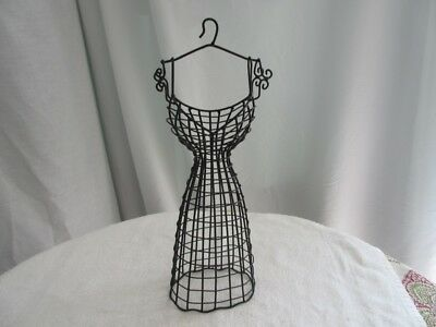 "17""Black metal wire Dress Form Mannequin Wall hanging jewelry tree ~ table top"