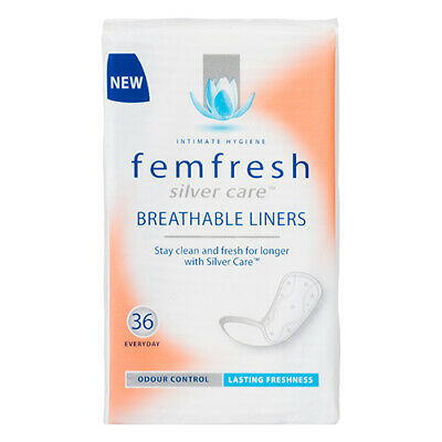 NEW Femfresh Panty Liners Pack Silver Care Trade Breathable Liners 36Pk