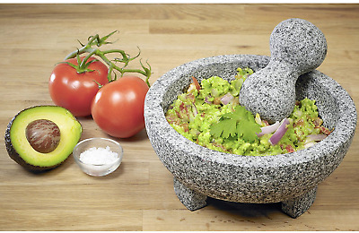 Vintage Style Granite Stone Mortar And Pestle Molcajete Mexican Salsa Bowl Large