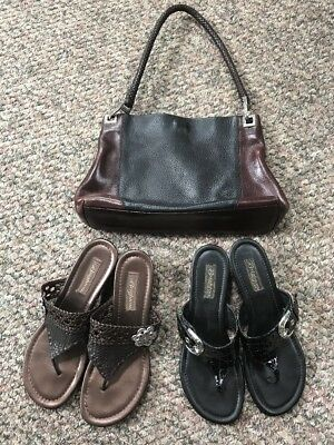 Mixed Lot Brighton Leather Handbag & 2 Pairs Leather Sandals Women's Size 10