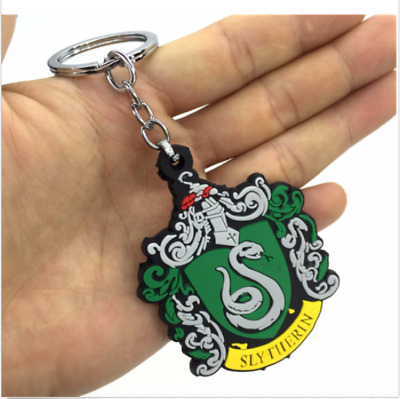 Anime Harry Potter Slytherin college key chain silicone pendant key ring new