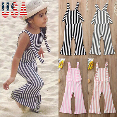 US Kids Baby Girls Off shoulder Stripe Romper Jumpsuits Trousers Outfits Clothes