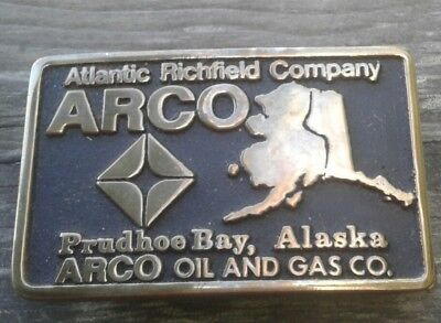 ARCO Atlantic Richfield Co. Oil & Gas Prudhoe Bay Alaska Brass Belt Buckle