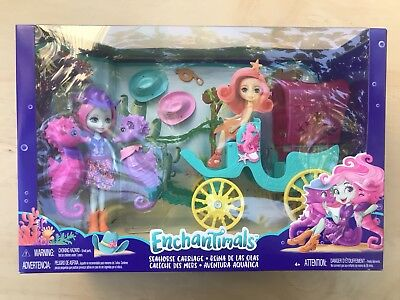 b8 Enchantimals SANDELLA SEAHORSE with Pets Western Styled Coach Playset NEW