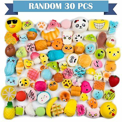 30Pcs Jumbo Squishy Soft Slow Rising Squeeze Toy Pressure Relief Kids Lot Strap