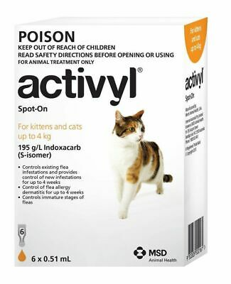 Activyl for Cats and Kittens up to 4kg - 6 Pack