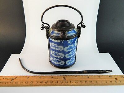 Antique Chinese Blue White Porcelain Metal Mounted Opium Jar Dragon Vapor  追龍;