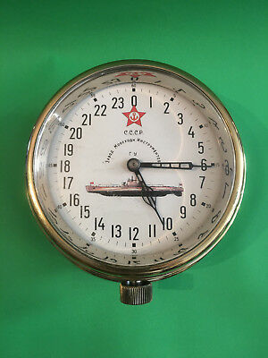 Vintage USSR Maritime Submarine Brass clock dial for 24 hours