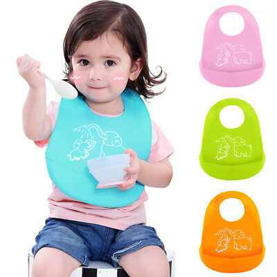 Comfortable Soft Baby Bib Easily Wipes Clean Silicone Feeding Bibs Waterproof
