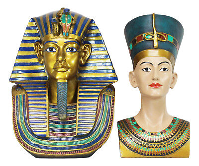 Large Ancient Egyptian King Tut And Queen Nefertiti Bust Figurine Set Of 2 Pcs