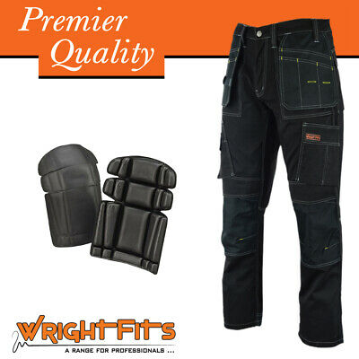 Men Work Cargo Trouser Black Pro Heavy Duty Multi Pockets & Knee Pad LOT