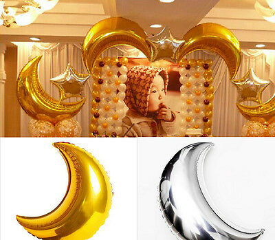 "36"" Gold Silver Foil Large Helium Moon Balloon Birthday Wedding Party Supplies"