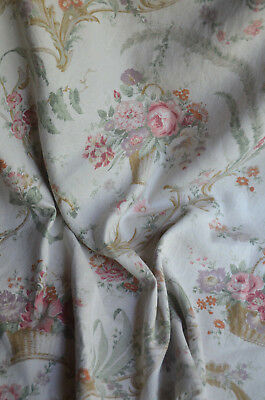 Antique French pure linen floral fabric, roses in basket, floral sprays, ribbons
