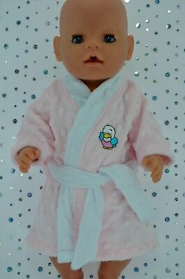 """Play n Wear Doll Clothes To Fit 17"""" Baby Born PINK MINKY DRESSING GOWN"""