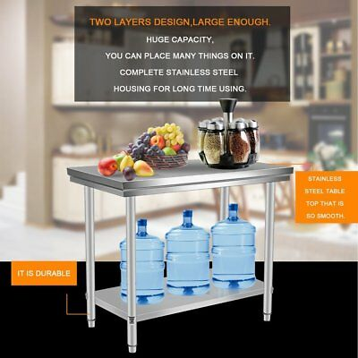 "24"" x 48"" Stainless Steel Kitchen Work Table Commercial Kitchen Restaurant"
