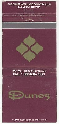 The Dunes Hotel & Country Club Las Vegas Nevada Matchbook Cover