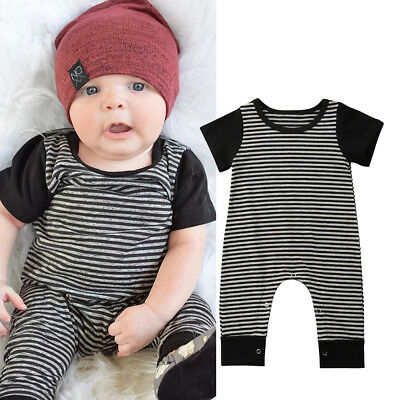 8aa38ca75521 US Newborn Infant Baby Boy Kid Overall Romper Jumpsuit Bodysuit Clothes  Outfits