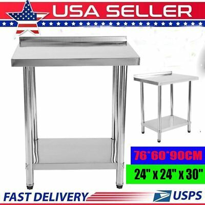 "Commercial 24''x30'' Kitchen Stainless Steel Work Prep Table with 2"" Backsplash"