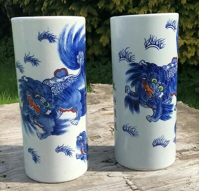 A Pair of Beautiful Antique Vintage Ceramic Chinese Oriental Blue & White Dragon