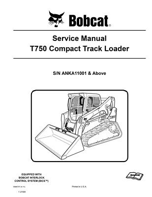 Bobcat T750 Compact Track Loader New Updated 2011 Edition Repair Service Manual