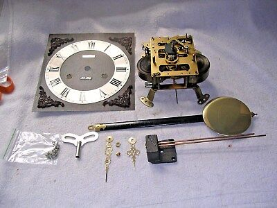 CLOCK  PARTS,MOVEMENt,CHIME, HANDS,PENDULUM ,KEY   z