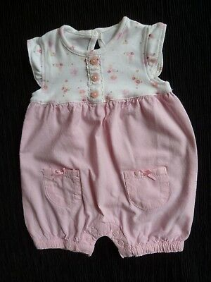 Baby clothes GIRL newborn 0-1m George cotton pink/white floral romper SEE SHOP!