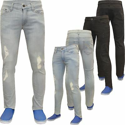 Mens Designer Skinny Stretch Jeans Distressed Ripped Jeans Frayed Denim Pants