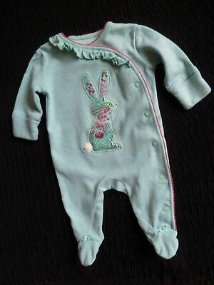 Baby clothes GIRL newborn 0-1m NEXT aqua soft babygrow floral rabbit SEE SHOP!