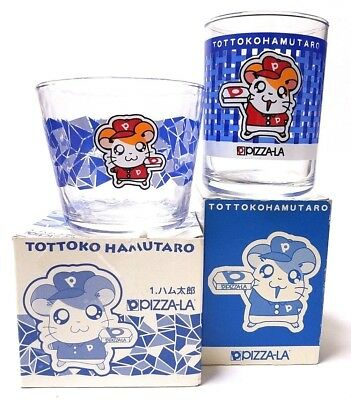 Japan Anime 2 Blue Tottoko Hamtaro Not For Sale Glass Cup Box Limited Rare Kids
