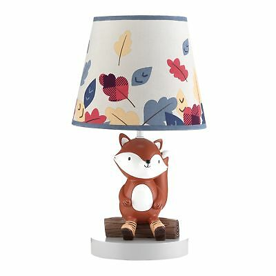 Lambs & Ivy Little Campers Gray/Blue Woodland Fox Lamp with Shade & Bulb