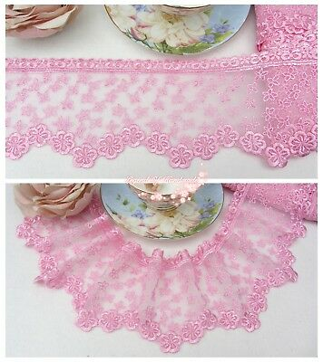 """4""""*1Y Embroidered Floral Tulle Lace Trim~Sweet Pink~Pink Princess~Sewing/DIY~"""