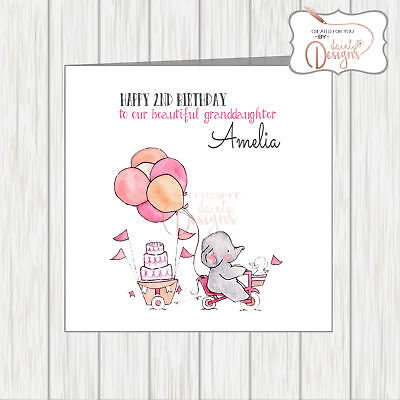 Personalised Name Age Little Girls Birthday Card Granddaughter Niece