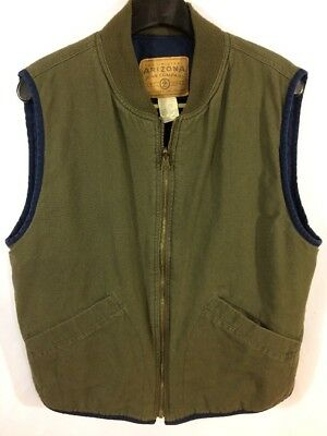 VTG Men's Olive Green DENIM QUILTED lined insulated VEST Small