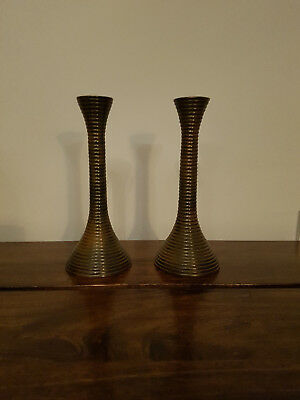 Pair of Solid Bronze Shabby Chic Candlesticks (Antique Vintage Candle Holders)