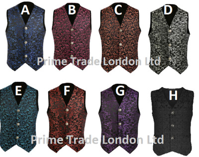 8 Colors Mens Waistcoat Vest Brocade Gothic Steampunk Wedding VTG Emopunk