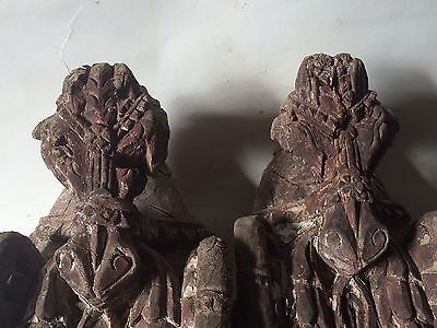 2 Original Indian Antique Hand Carved Beautiful Anatomy Wooden Horse Face Statue