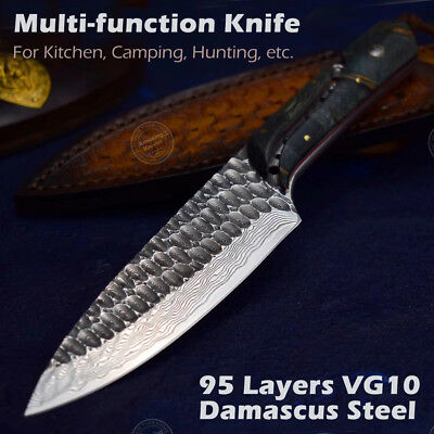 VG10 Damascus Chef Hunting Outdoor Survival Knife Full Tang w/ Sheath Wood Sharp