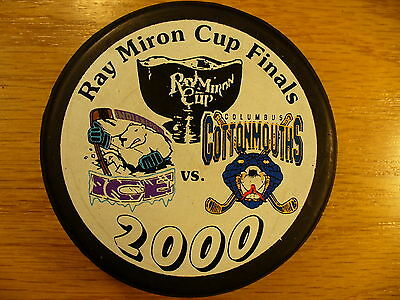 CHL '00 Miron Cup Finals Cottonmouths Vs Indy Ice Logo Hockey Puck Collect Pucks
