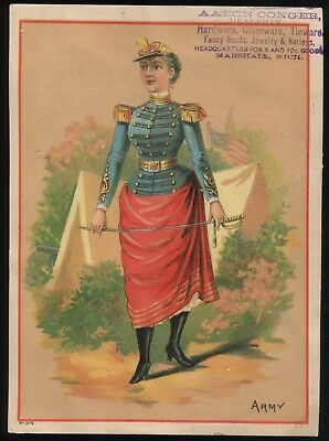 "Lot 50: 1880's Woman in U.S. Military ""Army"" Marshall Michigan Trade Card"