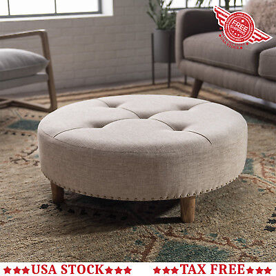 Magnificent Round Tufted Ottoman Tan Fabric Upholstered Footstool Circle Machost Co Dining Chair Design Ideas Machostcouk