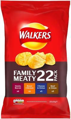 (9,90€/1kg) Walkers Crisps Variety Meaty 22 x 25g FAMILY Pack