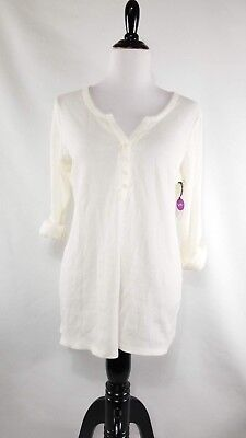 NWT Bump in the Night Maternity Pajama Shirt Size Large White Long Sleeve