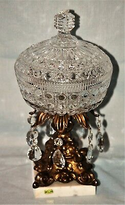 Vintage Gold Gilt Metal Crystal/Glass Lided Compote Candy Dish Crystal Prisms